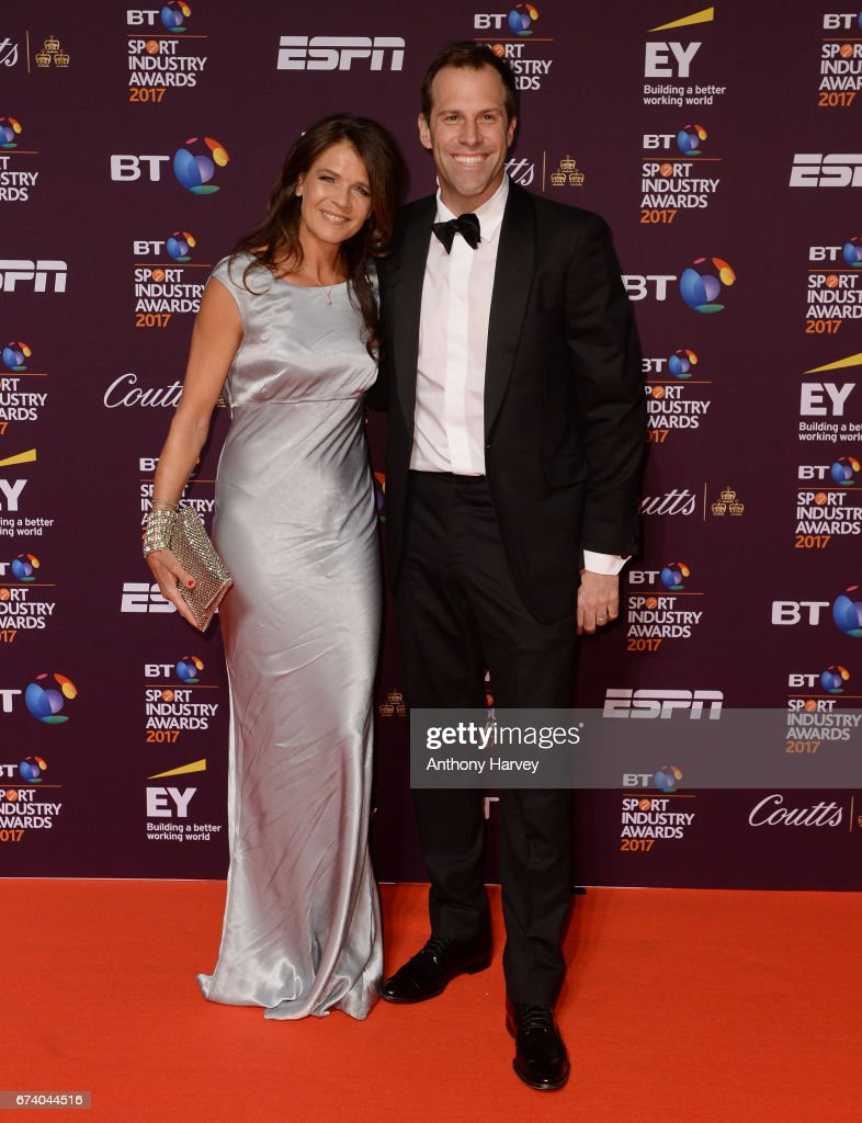 Annabel Croft and Greg Rusedski pose on the red carpet during the BT Sport Industry Awards 2017 at Battersea Evolution on April 27, 2017 in London, England. The BT Sport Industry Awards is the most prestigious commercial sports awards ceremony in Europe, where over 1,750 of the industry's key decision-makers mix with high profile sporting celebrities for the industry's most anticipated night of the sport business calendar.