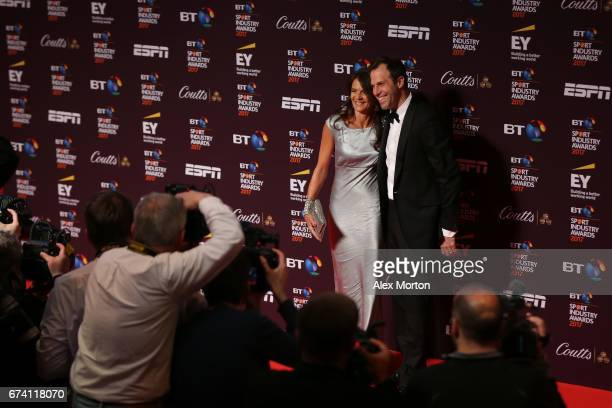 Annabel Croft and Greg Rusedski pose on the red carpet during the BT Sport Industry Awards 2017 at Battersea Evolution on April 27, 2017 in London,...