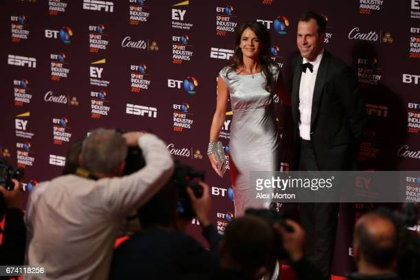 Annabel Croft and Greg Rusedski pose on the red carpet during the BT Sport Industry Awards 2017 at Battersea Evolution on April 27 2017 in London...