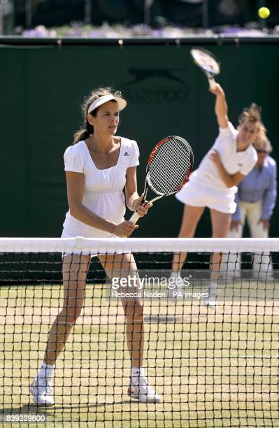Annabel Croft in action during her Ladies' Invitaion Doubles match with Magdalena Maleeva against Ilana Kloss and Rosalyn Nideffer