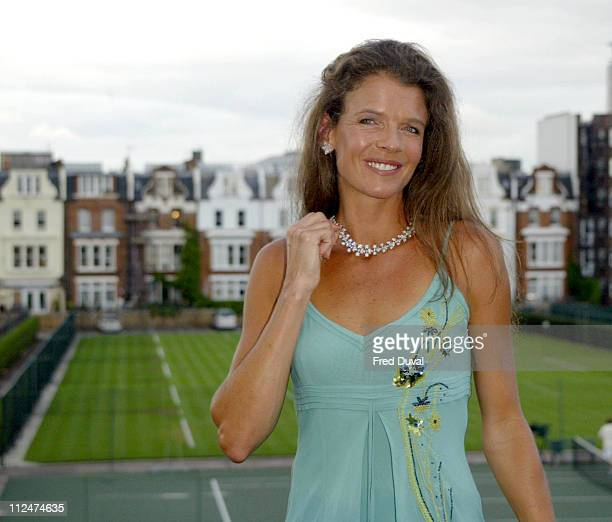 Annabel Croft models an an exclusive De Beers diamond necklace tipped to raise over 1m at a charity auction held at Queen's Tennis Club in Kensington...