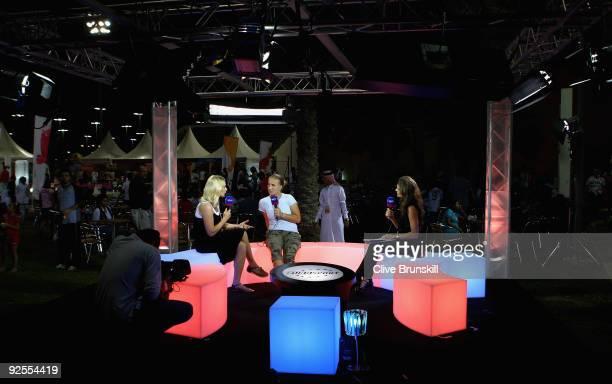 Annabel Croft of Great Britain and Barbara Schett of Austria interview Svetlana Kuznetsova of Russia on air for Eurosport TV during the Sony Ericsson...