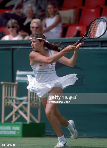 Annabel Croft of Great Britain in action during the Eastbourne International tennis tournament at Devonshire Park circa June 1985 in Eastbourne...