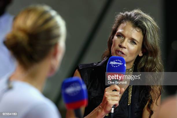 Annabel Croft of Great Britain interviews Svetlana Kuznetsova of Russia on air for Eurosport TV channel during the Sony Ericsson Championships at the...