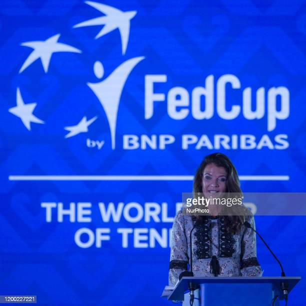 Annabel Croft was the host of the draw for the Fed Cup Finals took place on Tuesday 11 February 2020 at the Museum of Fine Arts in Budapest