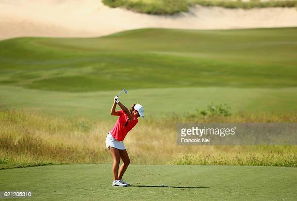Annabel Dimmock of England in action during the final round of the Fatima Bint Mubarak Ladies Open at Saadiyat Beach Golf Club on November 5 2016 in...
