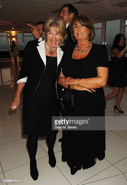 Annabel Elliot and Lady Annabel Goldsmith attend The Reuben Foundation Virgin Unite Haiti Fundraiser at Altitude 360 on May 26 2010 in London England