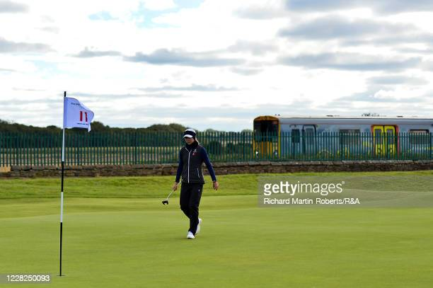 Annabel Fuller of England walks across the 11th green during the SemiFinals on Day Five of The Women's Amateur Championship at The West Lancashire...