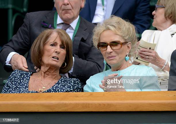 Annabel Goldsmith and HRH Princess Michael of Kent attend Day 11 of the Wimbledon Lawn Tennis Championships at the All England Lawn Tennis and...
