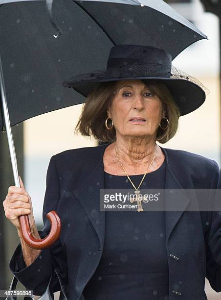 Annabel Goldsmith attends The Funeral of Mark Shand at Holy Trinity Church in Stourpaine on May 1 2014 near Blandford Forum in Dorset England
