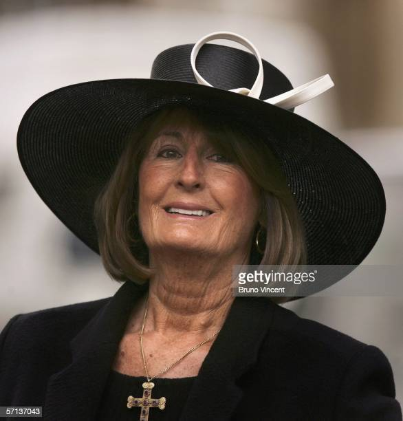 Annabel Goldsmith leaves St Pauls Church after the funeral of Ex Conservative Minister for War John Profumo at St Pauls Church on March 20 2006 in...