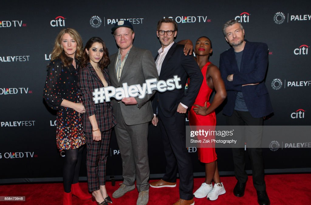 Annabel Jones, Cristin Milioti, Jesse Plemons, Jimmi Simpson, Michaela Coel and Charlie Brooker attend PaleyFest NY 2017 'Black Mirror' at The Paley Center for Media on October 6, 2017 in New York City.