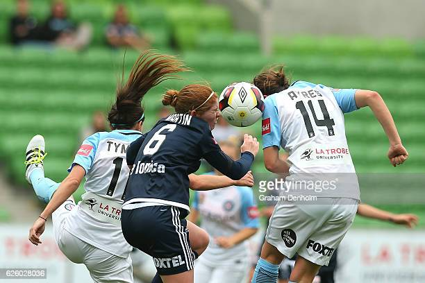 Annabel Martin of Melbourne Victory heads the ball during the round four ALeague match between Melbourne City FC and Melbourne Victory at AAMI Park...