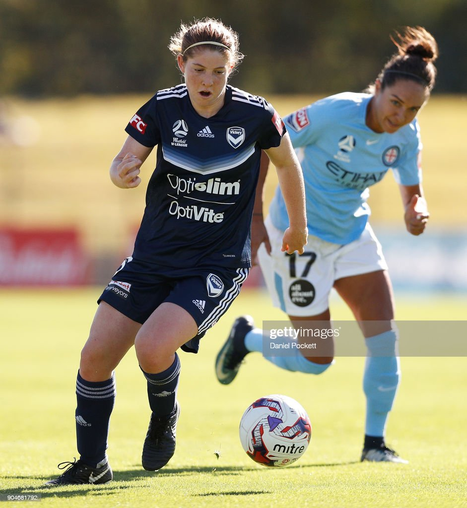 Annabel Martin of Melbourne Victory runs with the ball during the round 11 W-League match between the Melbourne Victory and Melbourne City at Epping Stadium on January 14, 2018 in Melbourne, Australia.