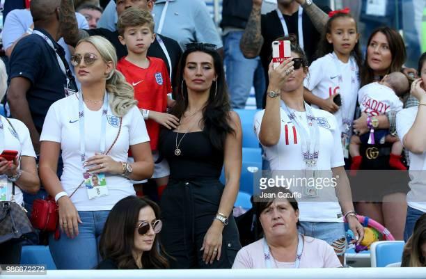 Annabel Peyton fiancee of Jack Butland of England Annie Kilner girlfriend of Kyle Walker Rebekah Vardy wife of Jamie Vardy during the 2018 FIFA World...
