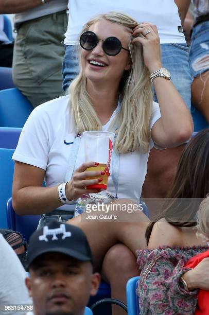 Annabel Peyton fiancee of Jack Butland of England attends the 2018 FIFA World Cup Russia group G match between England and Panama at Nizhniy Novgorod...