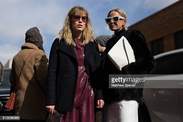 Annabel Rosendahl and Celine Aagaard are seen at Rebecca Minkoff during New York Fashion Week: Women's Fall/Winter 2016 on February 13, 2016 in New...