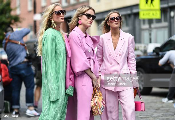 Annabel Rosendahl and Celine Aagaard are seen wearing outside the Tibi show during New York Fashion Week Women's S/S 2018 on September 9 2017 in New...