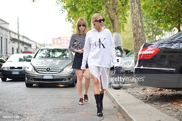 Annabel Rosendahl and Celine Aagaard leaves after the Marni show during the Milan Fashion Week Spring/Summer 16 on September 27 2015 in Milan Italy