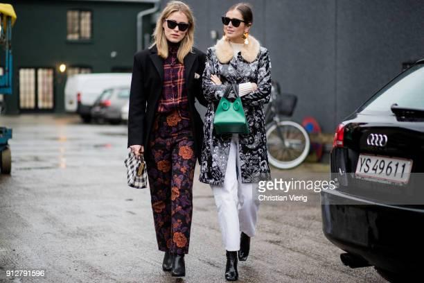 Annabel Rosendahl and Darja Barannik outside Cecilie Bahnsen during the Copenhagen Fashion Week Autumn/Winter 18 on January 31 2018 in Copenhagen...