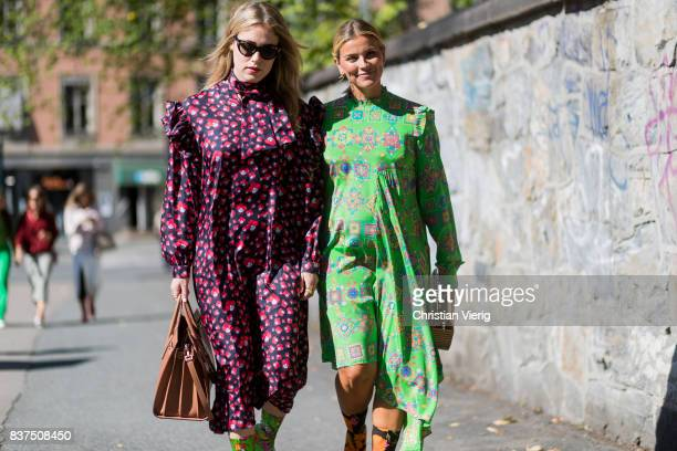 Annabel Rosendahl and Janka Polliani wearing dress and sock boots outside IBEN on August 22 2017 in Oslo Norway