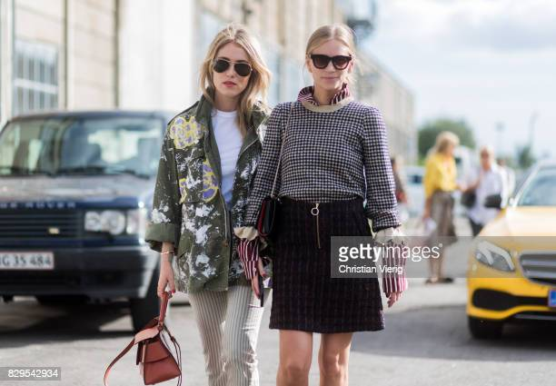 Annabel Rosendahl and Tine Andrea outside Ganni on August 10 2017 in Copenhagen Denmark