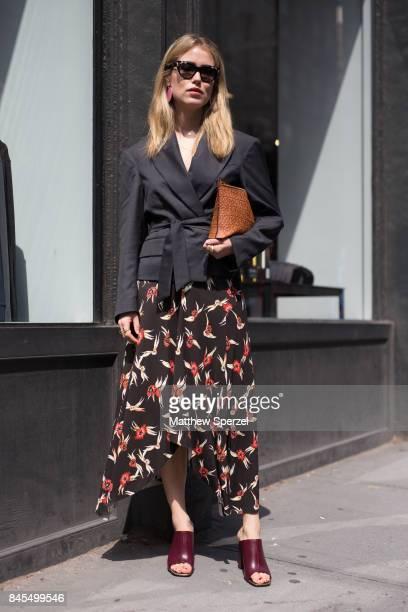 Annabel Rosendahl is seen attending Mansur Gavriel during New York Fashion Week wearing Isabel Marant Celine Loewe Gucci on September 10 2017 in New...