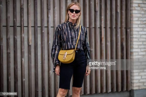 Annabel Rosendahl is seen outside Stine Goya during the Copenhagen Fashion Week Spring/Summer 2019 on August 8 2018 in Copenhagen Denmark