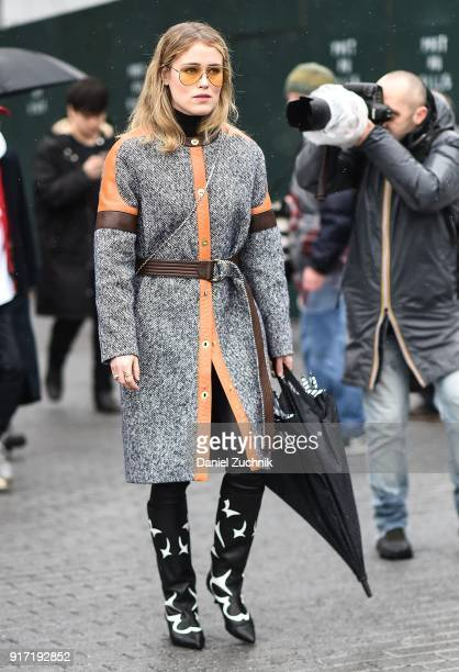 Annabel Rosendahl is seen outside the Tibi show during New York Fashion Week Women's A/W 2018 on February 11 2018 in New York City