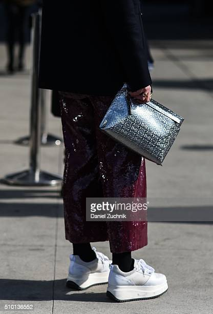 Annabel Rosendahl is seen outside the Tibi show wearing a Tibi outfit during New York Fashion Week: Women's Fall/Winter 2016 on February 13, 2016 in...