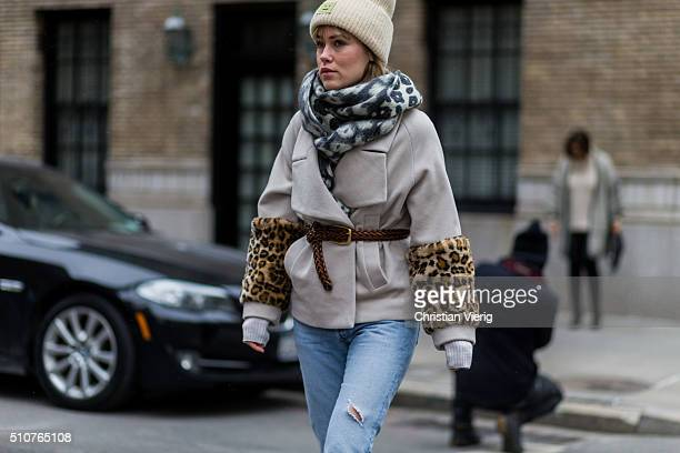 Annabel Rosendahl is wearing a Celine scarf Baum and Pferdgarten jacket Redone ripped blue jeans seen outside Tommy Hilfiger during New York Fashion...