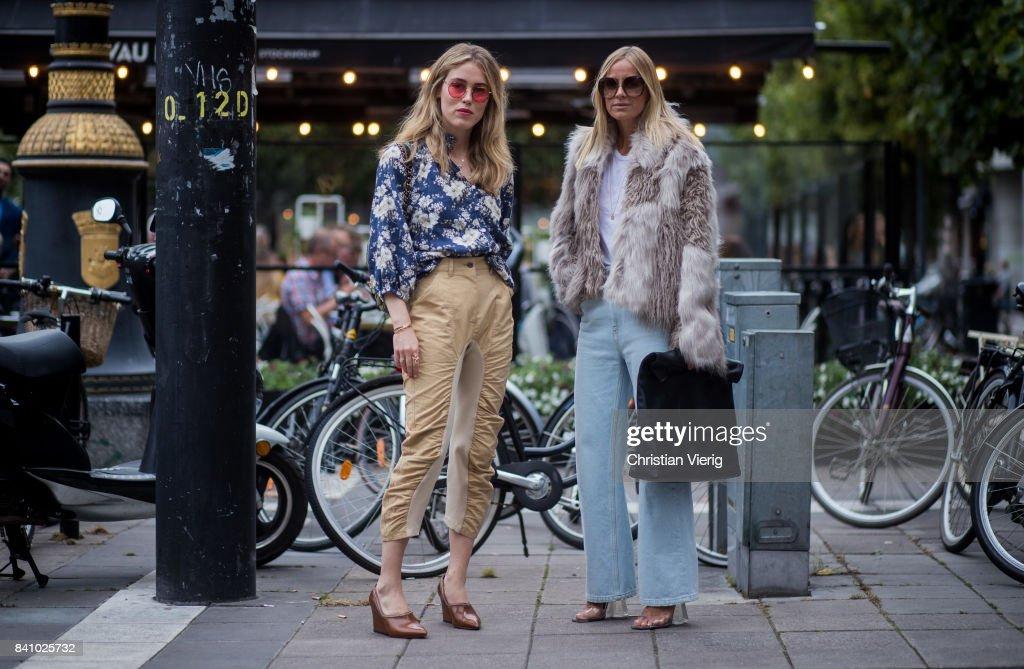 Annabel Rosendahl; Janka Polliani outside Rodebjer on August 30, 2017 in Stockholm, Sweden.
