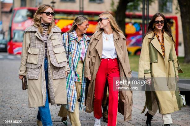 Annabel Rosendahl Janka Polliani Tine Andrea Darja Barannik seen outside Cathrine Hammel during Oslo Runway SS19 on August 14 2018 in Oslo Norway
