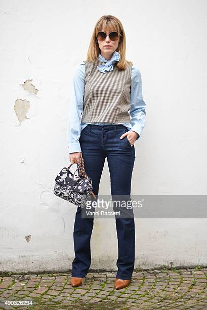 Annabel Rosendahl poses before the MSGM show during the Milan Fashion Week Spring/Summer 16 on September 27 2015 in Milan Italy