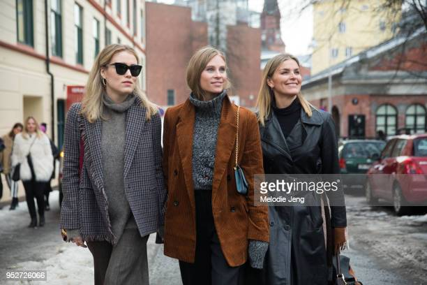 Annabel Rosendahl Tine Andrea and Janka Polliani on January 26 2018 in Oslo Norway Annabel wears a checkered gray jacket Tine wears a brown corduroy...
