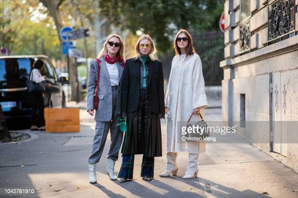 Annabel Rosendahl Tine Andrea Darja Barannik seen outside Alessandra Rich during Paris Fashion Week Womenswear Spring/Summer 2019 on September 28...
