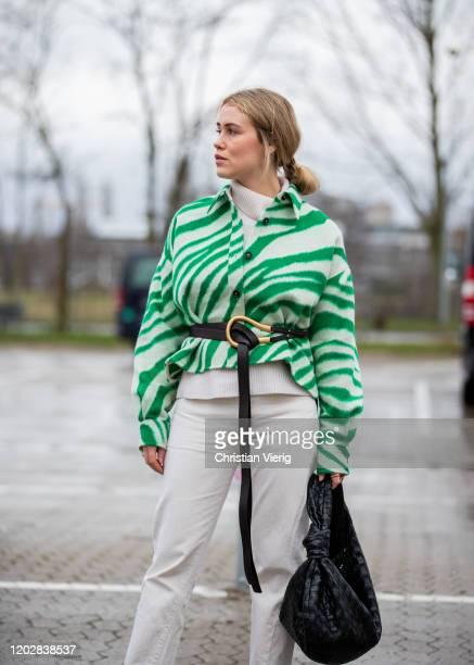 Annabel Rosendahl waring green cropped jacket, black Bottega bag seen outside Holzweiler during Copenhagen Fashion Week Autumn/Winter 2020 Day 2 on...