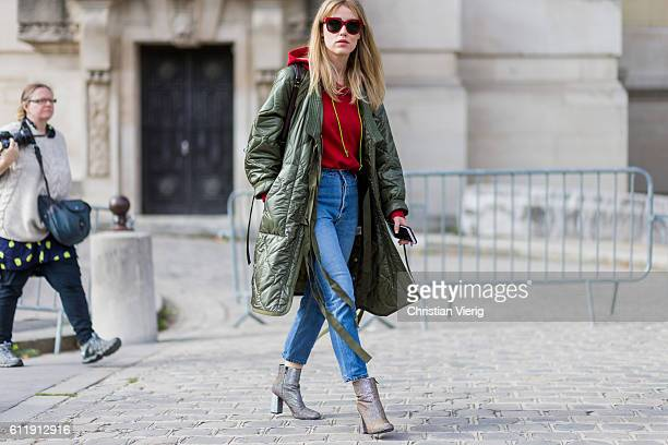 Annabel Rosendahl wearing a green parka outside Mugler on October 1 2016 in Paris France