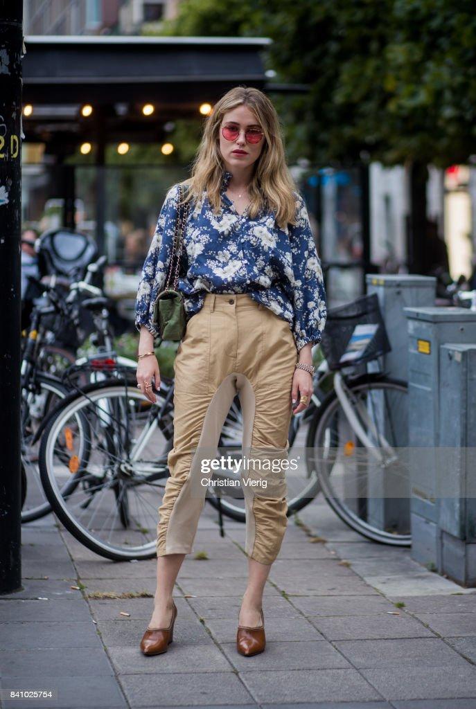 Annabel Rosendahl wearing beige pants, blouse outside Rodebjer on August 30, 2017 in Stockholm, Sweden.