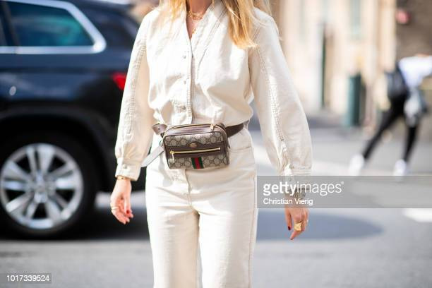 Annabel Rosendahl wearing Gucci belt bag seen outside Line of Oslo during Oslo Runway SS19 on August 15 2018 in Oslo Norway