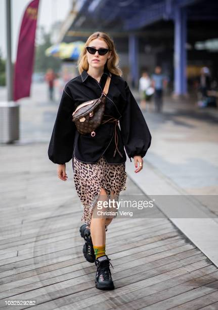 Annabel Rosendahl wearing Louis Vuitton fanny bag skirt with leopard print is seen outside Michael Kors during New York Fashion Week Spring/Summer...