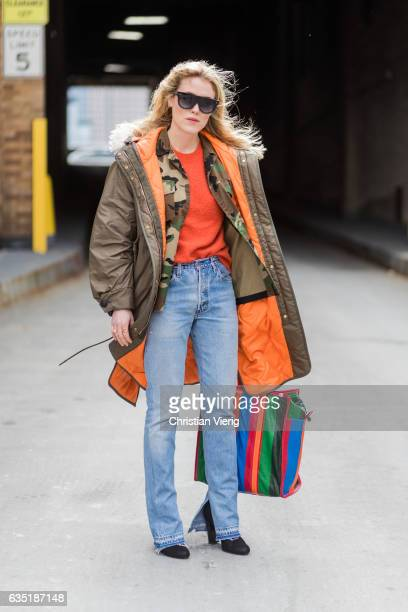 Annabel Rosendahl wearing parka denim jeans Balenciaga bag outside Proenza Schouler on February 13 2017 in New York City