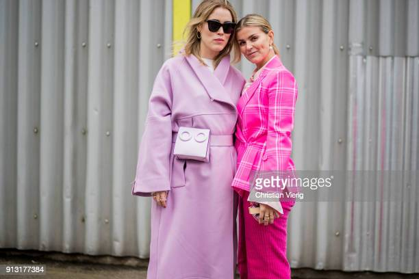 Annabel Rosendahl wearing pink coat and Janka Polliani wearing pink suit outside Designers Remix during the Copenhagen Fashion Week Autumn/Winter 18...
