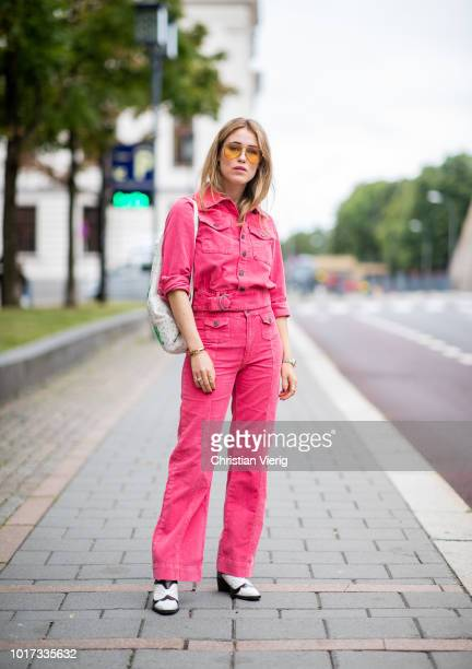 Annabel Rosendahl wearing pink denim jacket and jeans seen outside Moire during Oslo Runway SS19 on August 15 2018 in Oslo Norway
