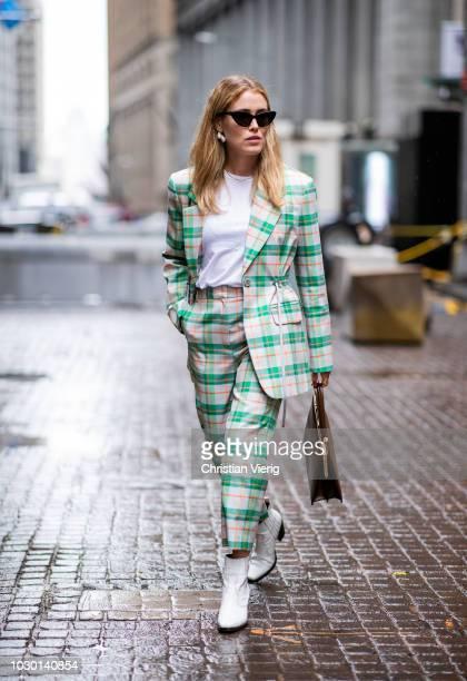 Annabel Rosendahl wearing plaid suit is seen outside Tibi during New York Fashion Week Spring/Summer 2019 on September 9 2018 in New York City