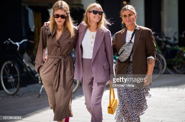 Annabel Rosendahl wearing see through sheer bag brown belted trench coat and Tine Andrea wearing pink suit and Janka Polliani wearing Dior belt bag...