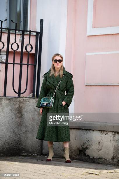 Annabel Rosendahl wears a green dress and green translucent Chanel bag on May 4 2018 in Tbilisi Georgia
