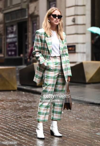Annabel Rosendale is seen wearing a checkered suit outside the Tibi show during New York Fashion Week Women's S/S 2019 on September 9 2018 in New...