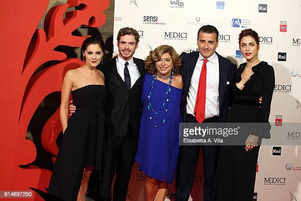 Annabel Scholey Richard Madden producers Matilde and Luca Bernabei and Miriam Leone walk a red carpet for 'I Medici' at Palazzo Vecchio on October 14...