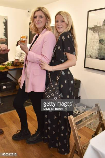 Annabel Simpson and Gracie Egan attend an exclusive dinner celebrating Derrick Santini's exhibition 'Float Fly' curated by Mark Broadbent of 'Bread...